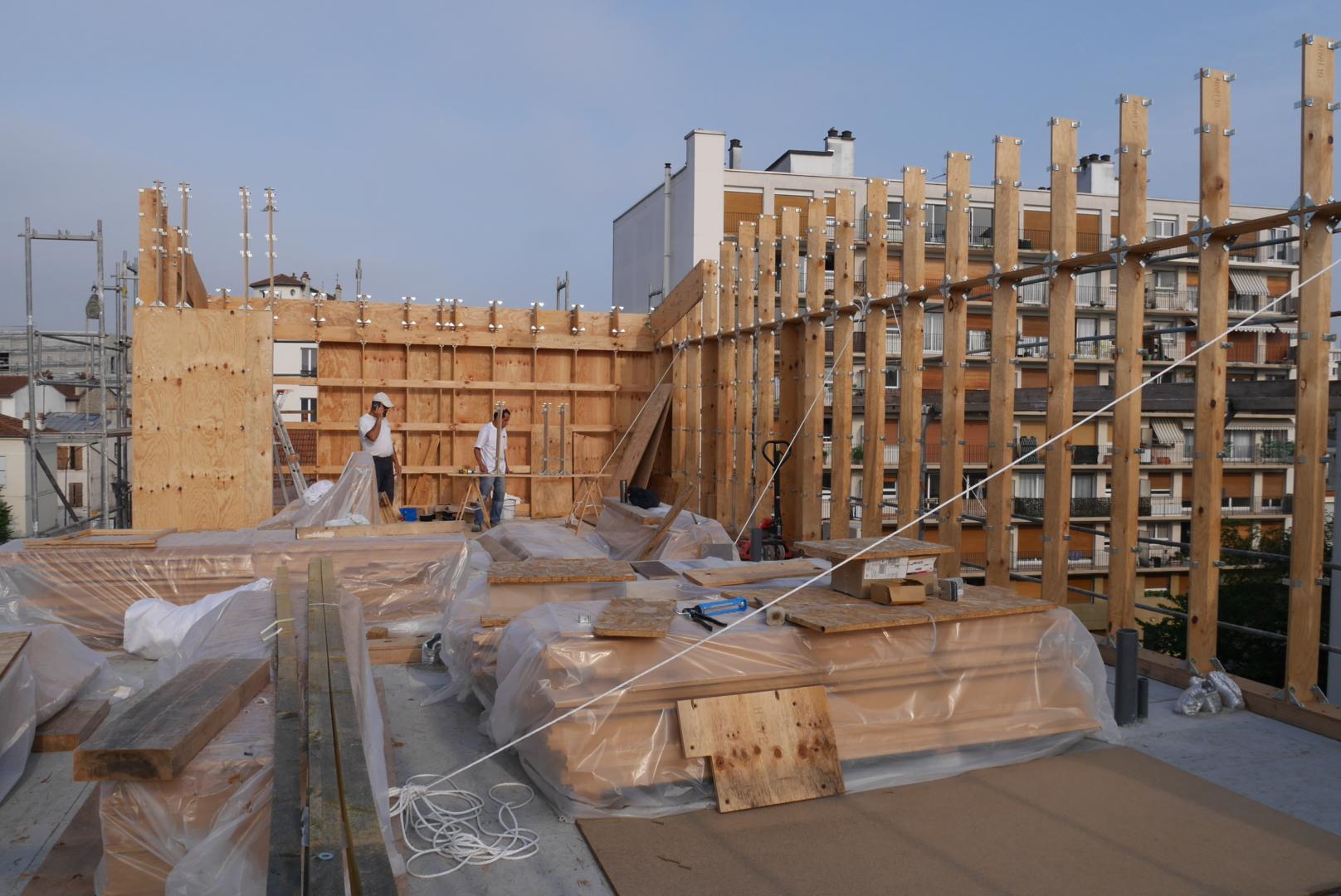 Montreuil surelevation construction bois architecte paris architecture BAM system laurent piron biotopes
